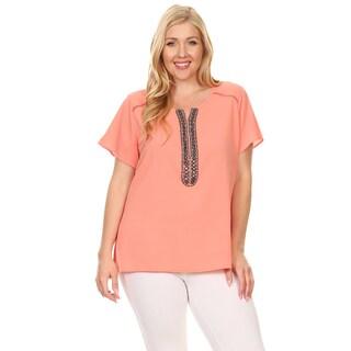 Xehar Women's Plus Size Embroidery Accent Notch Neck Blouse Top