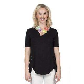 Xehar Women's Casual Side Button Detail Tunic