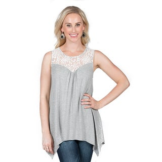 Xehar Women's Asymmetrical Hem Lace Tunic