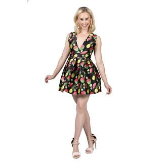 Xehar Women's Fruit Print Sleeveless Pleated Dress