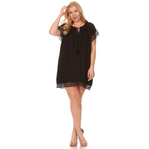 9b2801783fa Xehar Women  x27 s Plus Size Casual Crochet Lace Trim Short Mini Dress