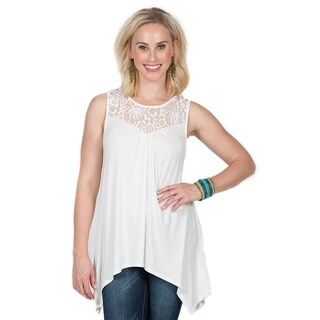 Xehar Women's Asymmetrical Hem Lace Tunic