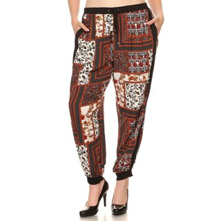 Xehar Women's Plus Size High Waisted Patchwork Printed Lounge Pants