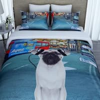 3D Music Dog Print 100% Cotton Duvet Cover with 2 Pillowcases