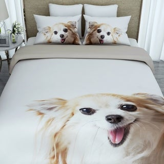 3D Puppy Print Twin-size Cotton Duvet Cover with 2 Pillowcases