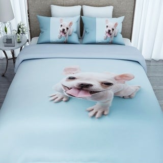 3D Doggy Print Twin-size Cotton Duvet Cover with 2 Pillowcases