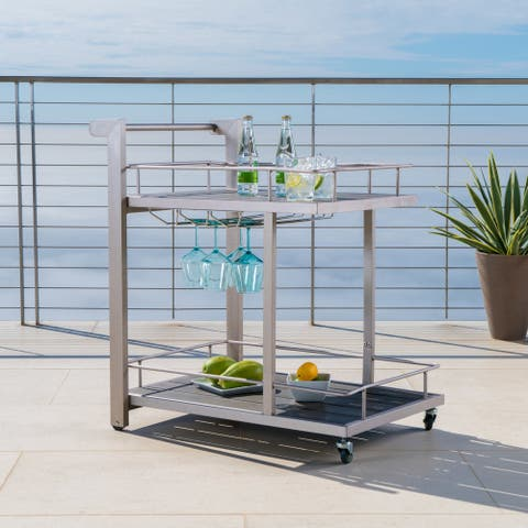 Cape Coral Outdoor Aluminum Bar Cart with Wheels by Christopher Knight Home