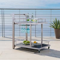 Cape Coral Outdoor Aluminum Bar Cart by Christopher Knight Home