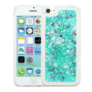 Insten Green Hearts Quicksand Hard Snap-on Case Cover For Apple iPhone 5C