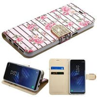 Insten Multi-Color Roses Leather Case Cover with Stand/ Wallet Flap Pouch/ Diamond For Samsung Galaxy S8 Plus S8+