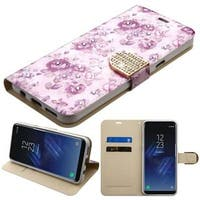 Insten Purple Fresh Flowers Leather Case Cover with Stand/ Wallet Flap Pouch/ Diamond For Samsung Galaxy S8 Plus S8+