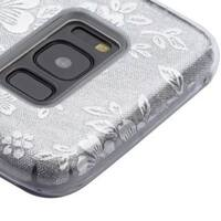 Insten Silver Flowers Glitter Hard Snap-on Dual Layer Hybrid Case Cover For Samsung Galaxy S8 Plus S8+