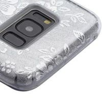 Insten Silver Flowers Glitter Hard Snap-on Dual Layer Hybrid Case Cover For Samsung Galaxy S8