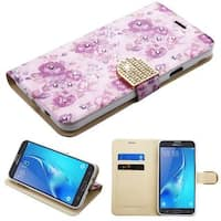Insten Purple Fresh Flowers Leather Case with Stand/ Wallet Flap Pouch For Samsung Galaxy J7 (2017)/ J7 Perx/ J7 Sky Pro/ J7 V