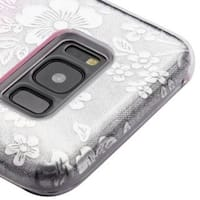 Insten Pink Flowers Gradient Glitter Hard Snap-on Dual Layer Hybrid Case Cover For Samsung Galaxy S8