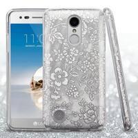 Insten Silver Flowers Glitter Hard Snap-on Dual Layer Hybrid Case For LG Aristo/ Fortune/ K4 (2017)/ K8 (2017)/ LV3/ Phoenix 3