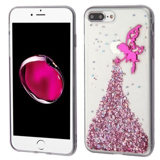 Insten Hot Pink/ Clear 3D Fairy Glitter TPU Rubber Candy Skin Case Cover For Apple iPhone 6 Plus/ 6s Plus/ 7 Plus