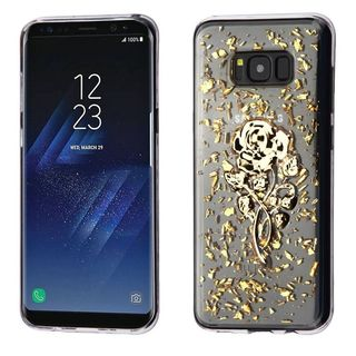 Insten Gold/ Clear 3D Rose Glitter TPU Rubber Candy Skin Case Cover For Samsung Galaxy S8
