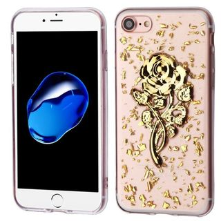 Insten Gold/ Clear 3D Rose Glitter TPU Rubber Candy Skin Case Cover For Apple iPhone 7