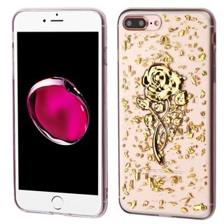 Insten Gold/ Clear 3D Rose Glitter TPU Rubber Candy Skin Case Cover For Apple iPhone 7 Plus