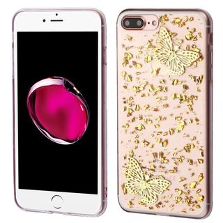 Insten Gold/ Clear 3D Butterflies Glitter TPU Rubber Candy Skin Case Cover For Apple iPhone 7 Plus