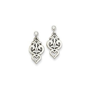 14 Karat White Gold Filigree Heart Dangle Earrings