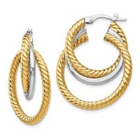 14 Karat Two-tone Polished and Textured Tri-Hoop Earrings