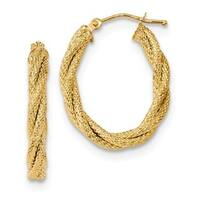 14 Karat Polished Textured Twisted Oval Hoop Earrings
