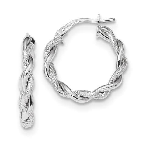 Versil 14 Karat White Gold Satin and Polished Twisted Hoops