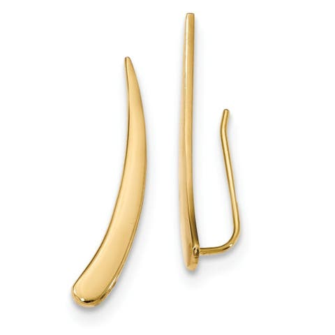 14 Karat Gold Polished Pointed Ear Climber Earrings by Versil