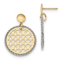 14 Karat Two-Tone Polished Diamond Cut Fancy Circle Dangle Post Ear