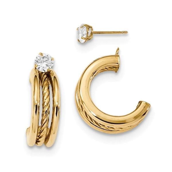 14 Karat Polished Triple Hoops With Rope Earring Jackets Cz Studs