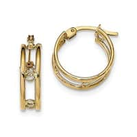 14 Karat Polished Circles Between Double Hoops