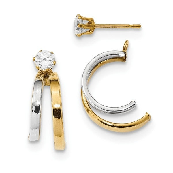 14 Karat Two Tone Double Hoop Earring Jackets With Cz Studs