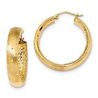 14 Karat Polished, Satin & Diamond Cut In/Out Hoop Earrings