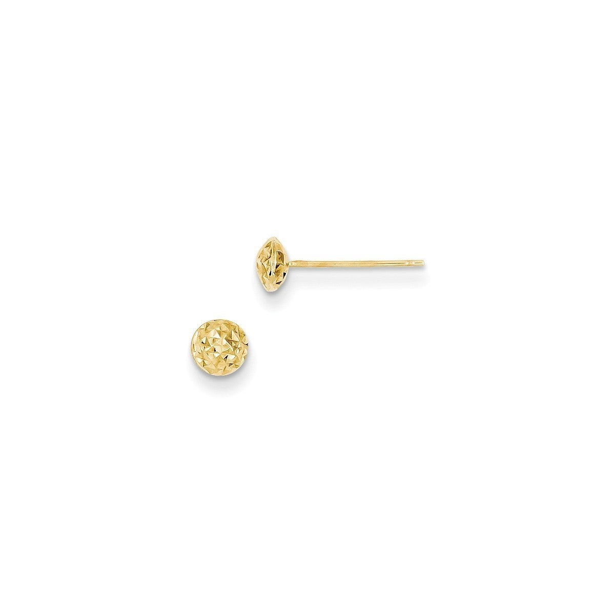 14K White Gold 6mm Circle Puff Post Earrings
