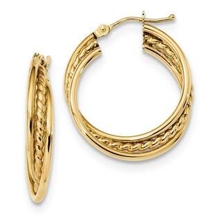 14 Karat Polished Rope Twisted Hoop Earrings
