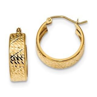 14 Karat Diamond Cut Hoop Earrings