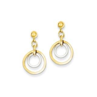 14 Karat Two-tone Circle Post Dangle Earrings