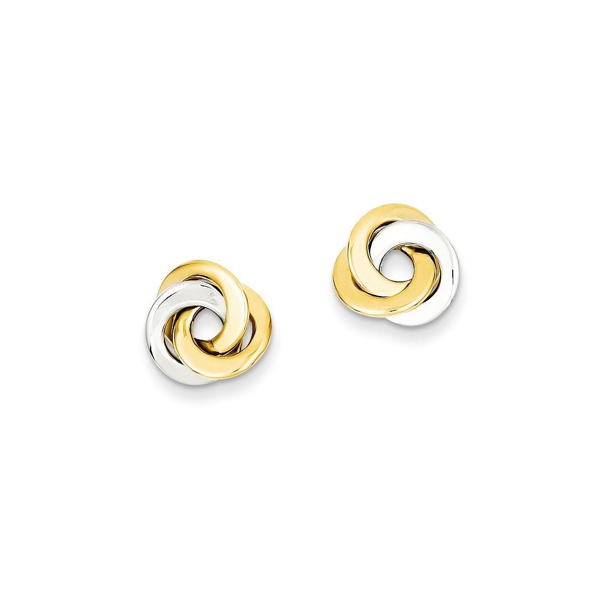 5mm Ladies 14K Yellow Gold Love Knot Post Push Back Stud Earrings