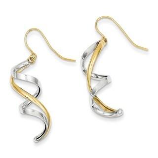 14 Karat Two-tone Polished Fancy Dangle Earrings