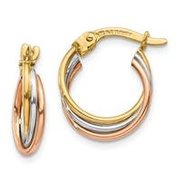 Versil 14 Karat Tri-color Twisted Hoop Earrings