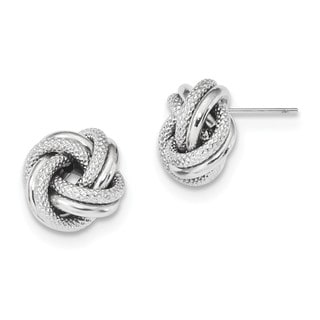 14 Karat White Gold Polished Textured Double Love Knot Post Earrings