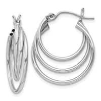 14 Karat White Gold Triple Hoop Earrings