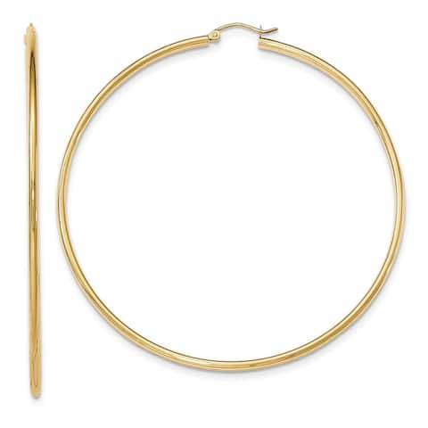 14K Yellow Gold High Polished 75mm Round Hoop Earrings by Versil