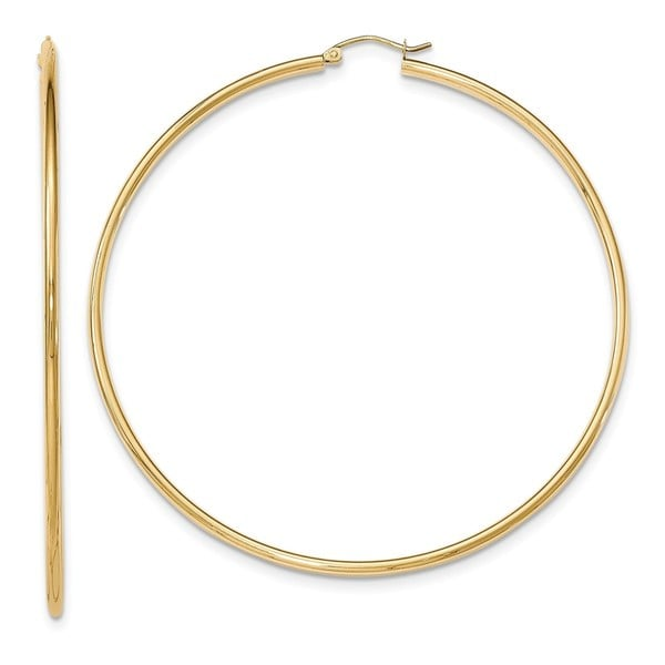 14K Yellow Gold High Polished 75mm Round Hoop Earrings by Versil. Opens flyout.