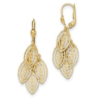 14 Karat Gold Textured and Polished Dangle Leverback Earrings