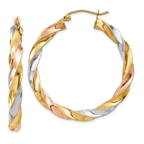 14 Karat Tri-color Light Twisted Hoop Earrings by Versil