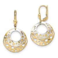 14 Karat Two-Tone Polished Round Dangle Leverback Earrings