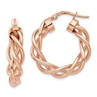 14 Karat Rose Gold Twisted Hoop Earrings